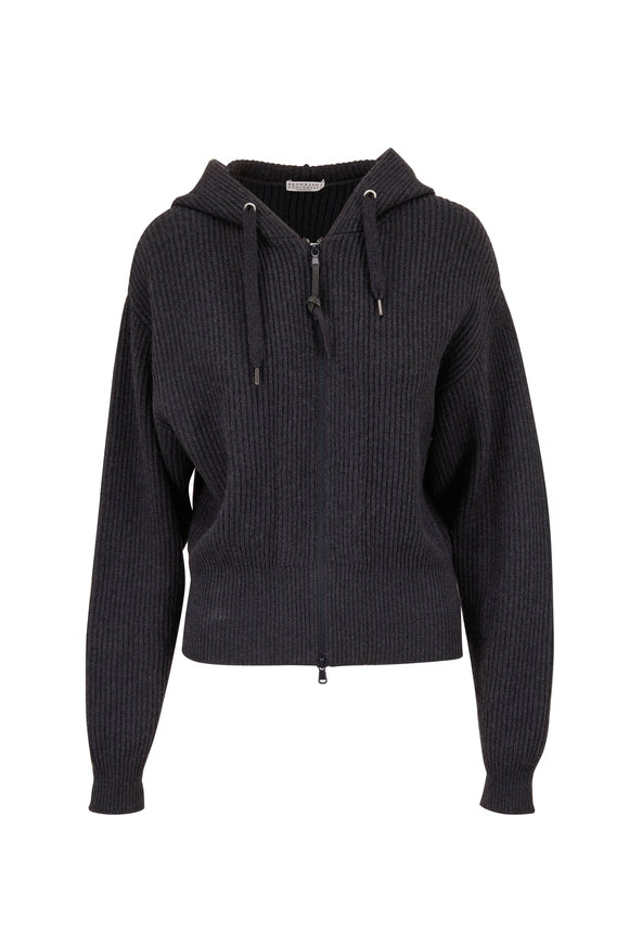 Brunello Cucinelli Onyx Ribbed Cashmere Zip-Up Hooded Sweater