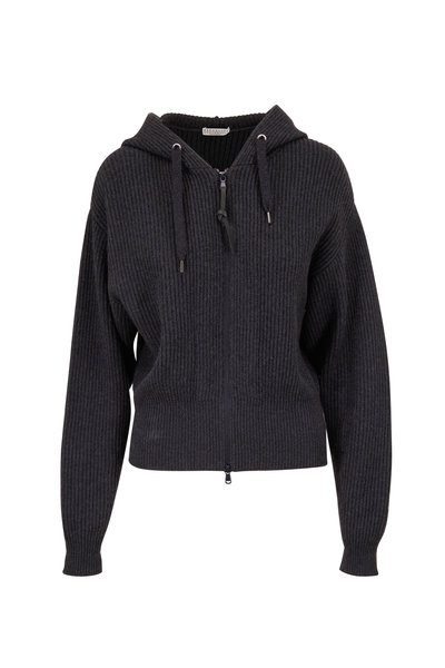 Brunello Cucinelli - Onyx Ribbed Cashmere Zip-Up Hooded Sweater