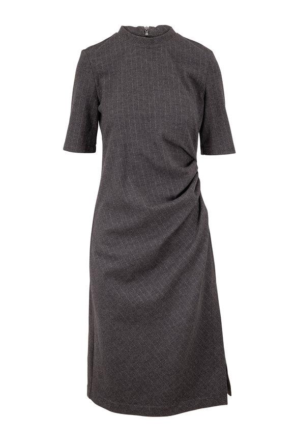 Brunello Cucinelli Anthracite Wool Pinstriped Short Sleeve Dress