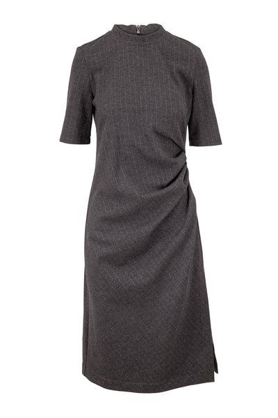 Brunello Cucinelli - Anthracite Wool Pinstriped Short Sleeve Dress