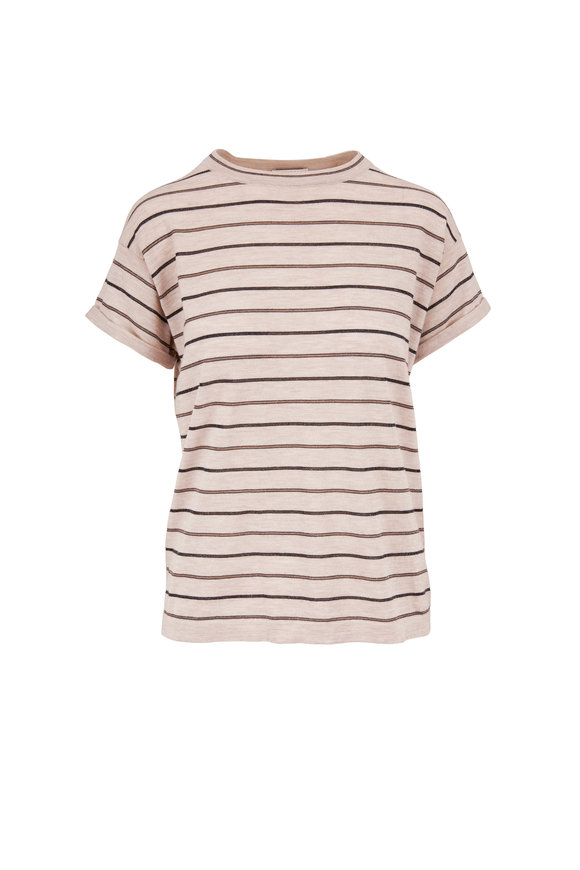 Brunello Cucinelli Beige Wool Blend Multi-Striped Short Sleeve Top