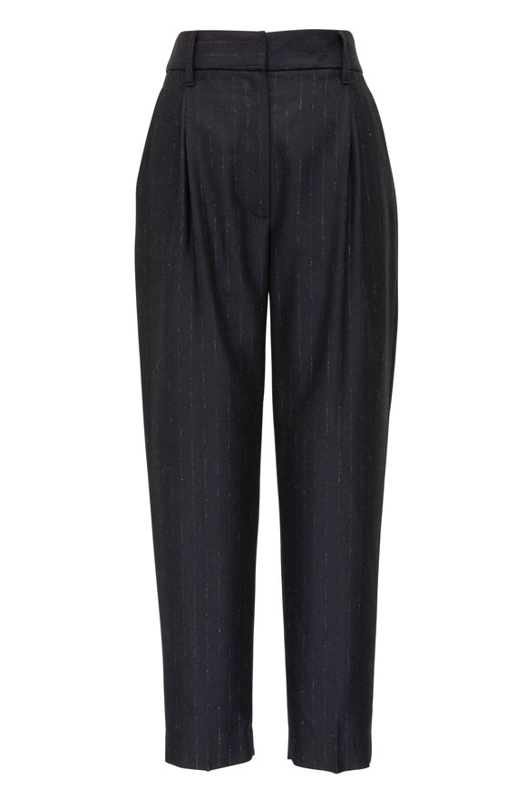 Brunello Cucinelli Midnight Wool Faint-Pinstriped Double-Pleated Pant