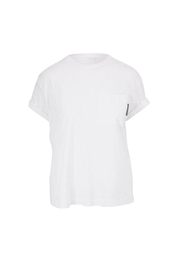 Brunello Cucinelli White Cotton Short Cuffed Sleeve Pocket T-Shirt