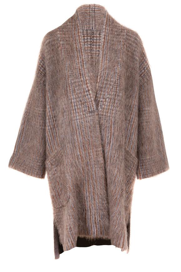 Brunello Cucinelli Charcoal Mohair & Wool Plaid Pocket Cardi Coat
