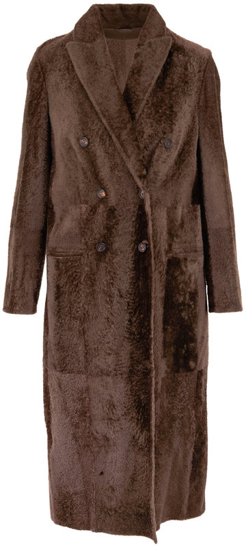 Brunello Cucinelli Cigar Ultra Light Shearling Double-Breasted Coat