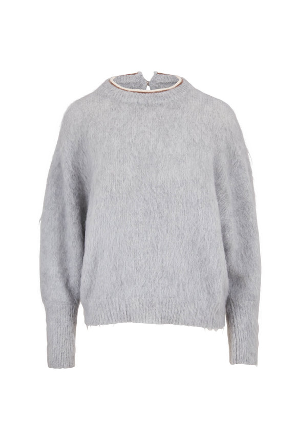 Brunello Cucinelli Glacier Mohair & Alpaca Monili Crewneck Sweater