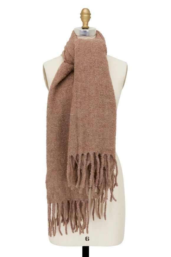 Brunello Cucinelli Brown Alpaca & Wool Bouclé Scarf