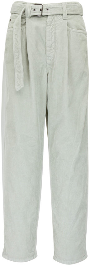 Brunello Cucinelli Light Green Corduroy Front Tie-Waist Pleated Pant
