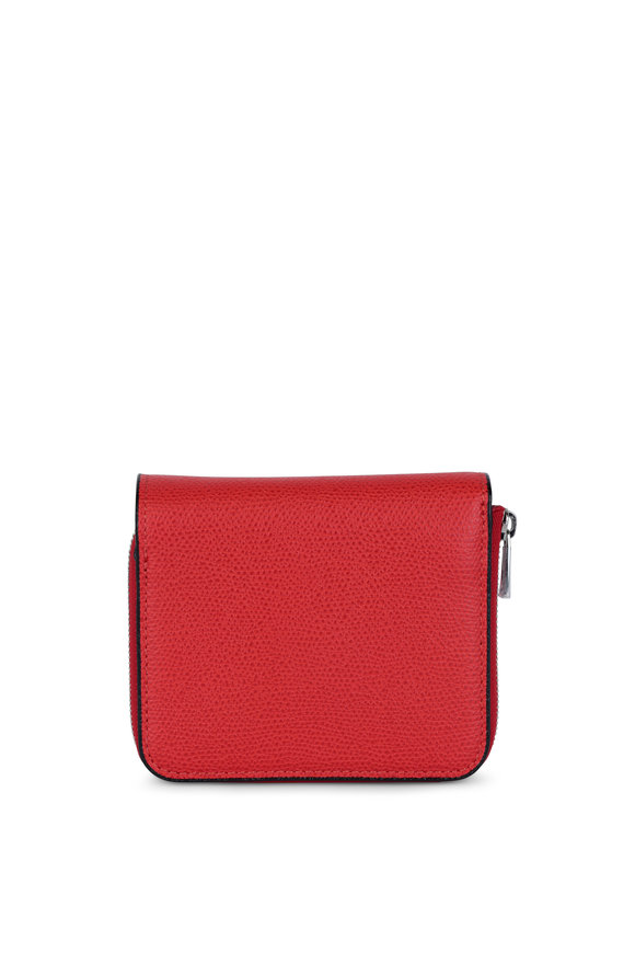 Valextra Red Leather Small Fold Over Wallet