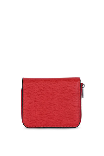 Valextra - Red Leather Small Fold Over Wallet