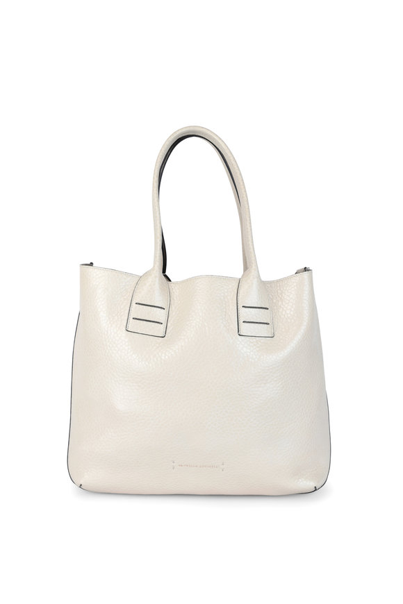 Brunello Cucinelli Rice Glossy Textured Leather Tote Bag