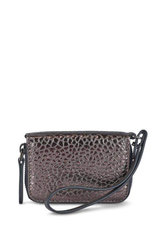 Brunello Cucinelli Pewter Leather Zip around Wristlet Wallet