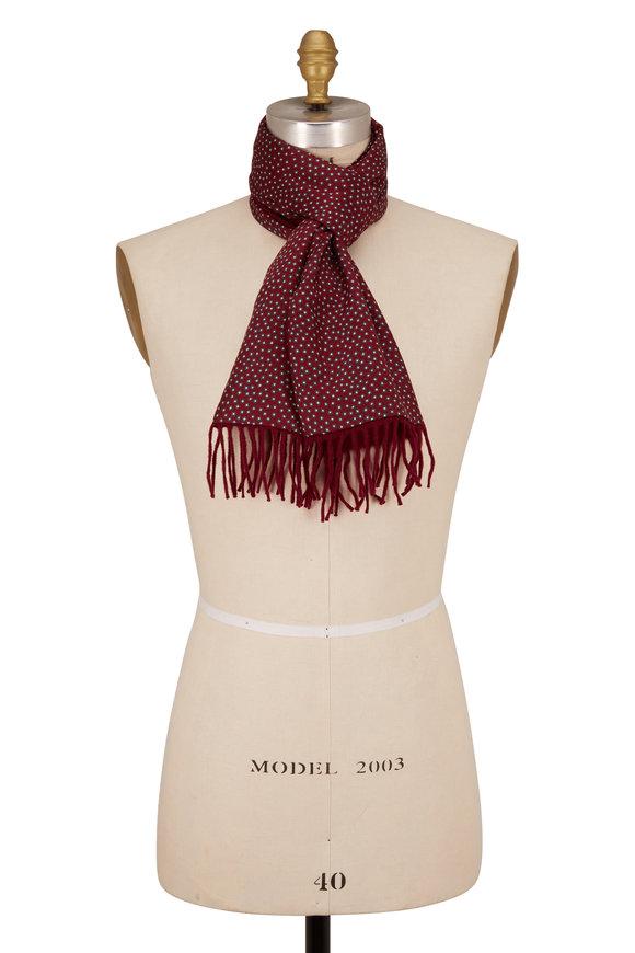 Charvet Burgundy & Grey Square Print Silk & Wool Scarf