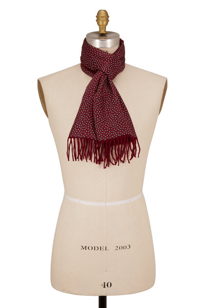 Charvet - Burgundy & Grey Square Print Silk & Wool Scarf