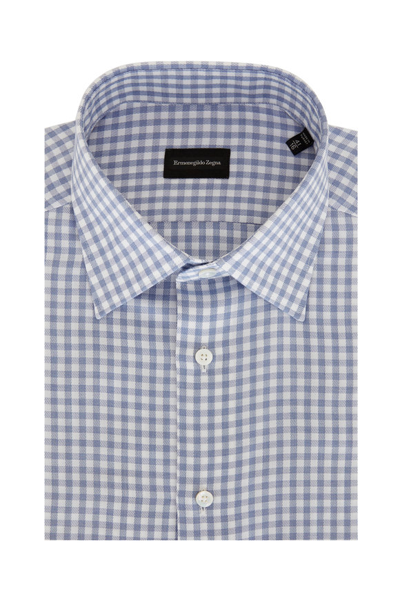 Ermenegildo Zegna Blue Check Twill Dress Shirt