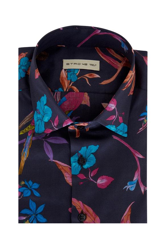 Etro Dark Blue Multicolor Floral Print Sport Shirt