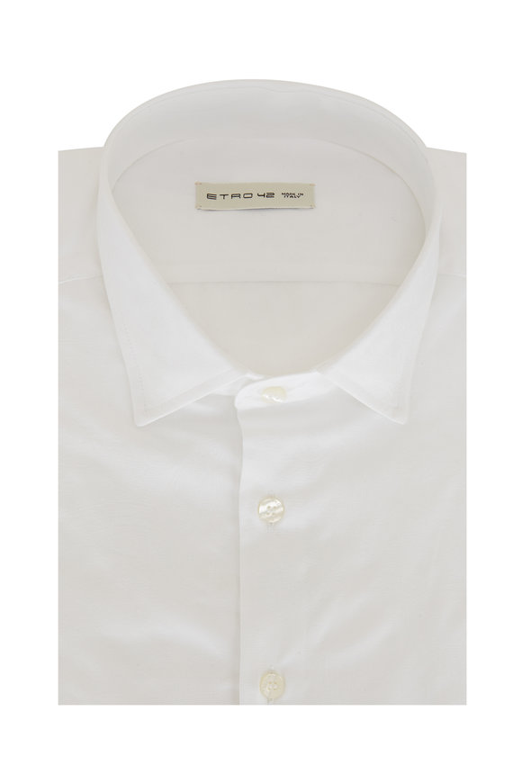 Etro Solid White Tonal Paisley Sport Shirt