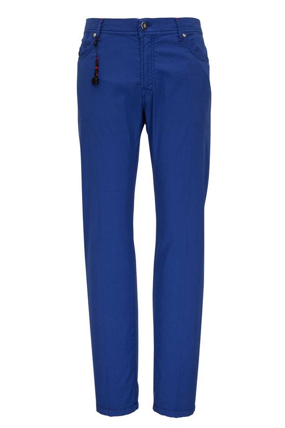 Marco Pescarolo Royal Blue Silk & Cotton Five Pocket Pant