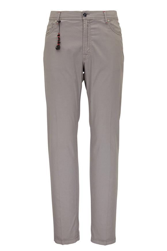 Marco Pescarolo Faint Grey Cotton & Silk Five Pocket Pant