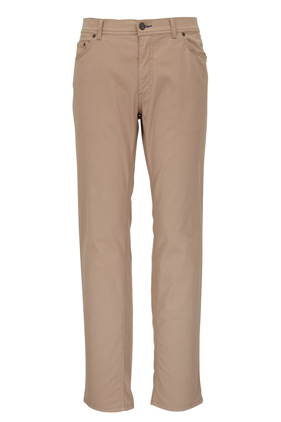 Brax Beige Sateen Five Pocket Pant