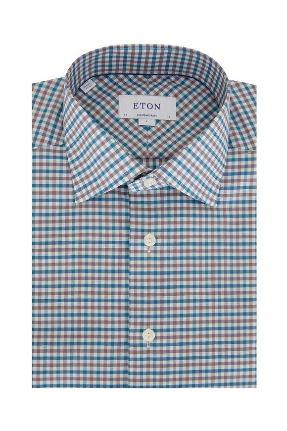 Eton Teal & Grey Plaid Cotton & Linen Dress Shirt