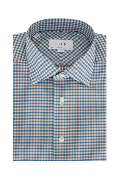 Eton - Teal & Grey Plaid Cotton & Linen Dress Shirt