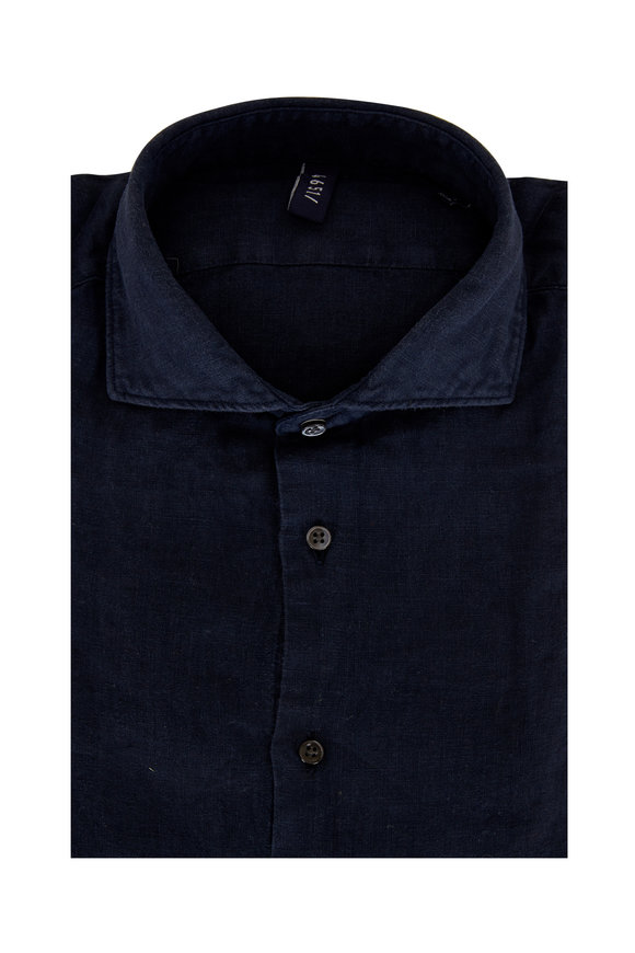 04651/ Solid Navy Blue Relaxed Linen Shirt