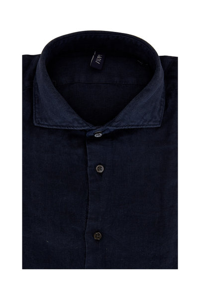 04651/ - Solid Navy Blue Relaxed Linen Shirt