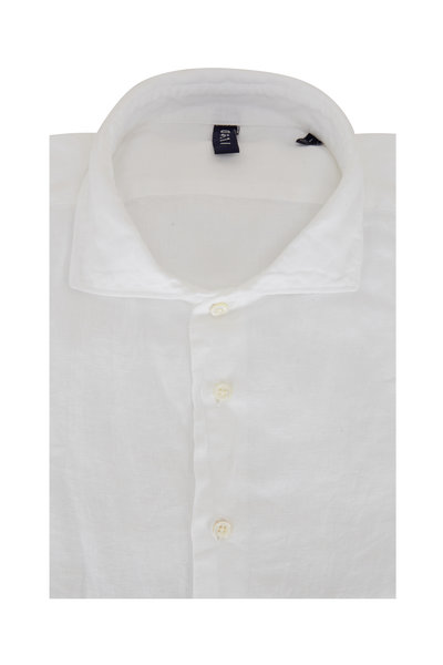 04651/ - Solid White Relaxed Linen Shirt