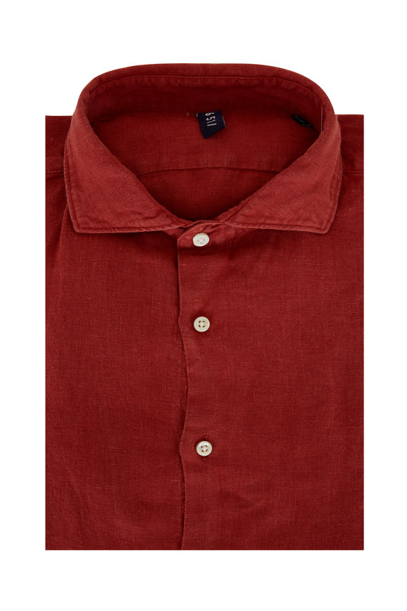 04651/ Solid Burnt Red Relaxed Linen Shirt