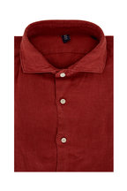 04651/ - Solid Burnt Red Relaxed Linen Shirt