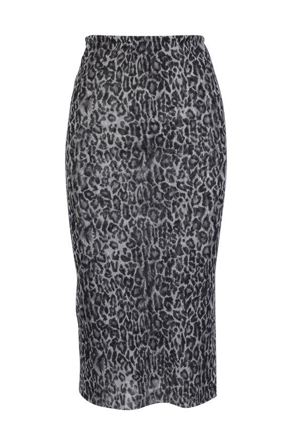 Peter Cohen Nickel Leopard Print Tulle Tube Skirt