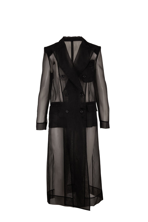 Dolce & Gabbana Black Silk Blend Sheer Double-Breasted Coat