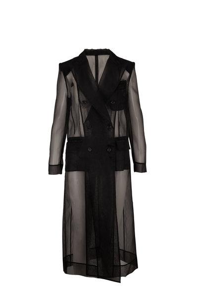 Dolce & Gabbana - Black Silk Blend Sheer Double-Breasted Coat