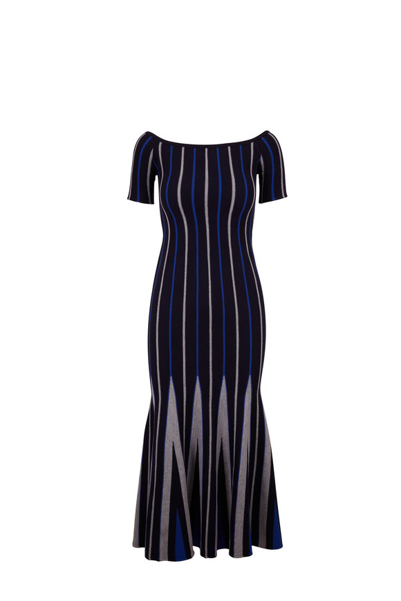 Gabriela Hearst Navy & Lapis Wool Medea Striped Knit Midi Dress