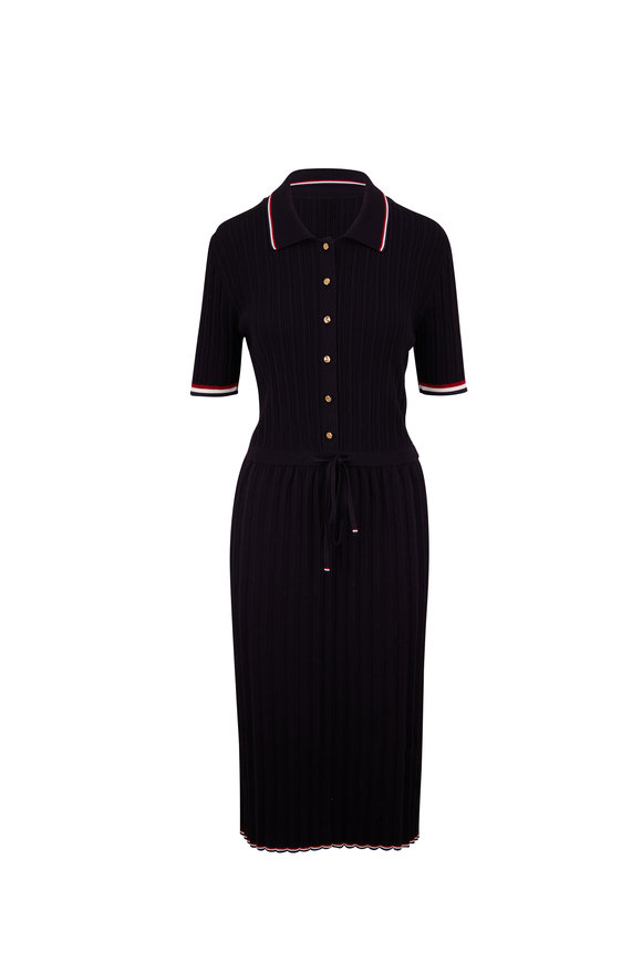 Thom Browne Navy Blue Accordian Pleated Polo Dress