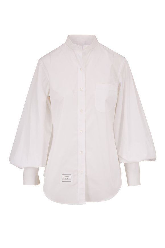 Thom Browne White Gathered Sleeve Poplin Blouse