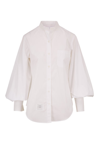 Thom Browne - White Gathered Sleeve Poplin Blouse