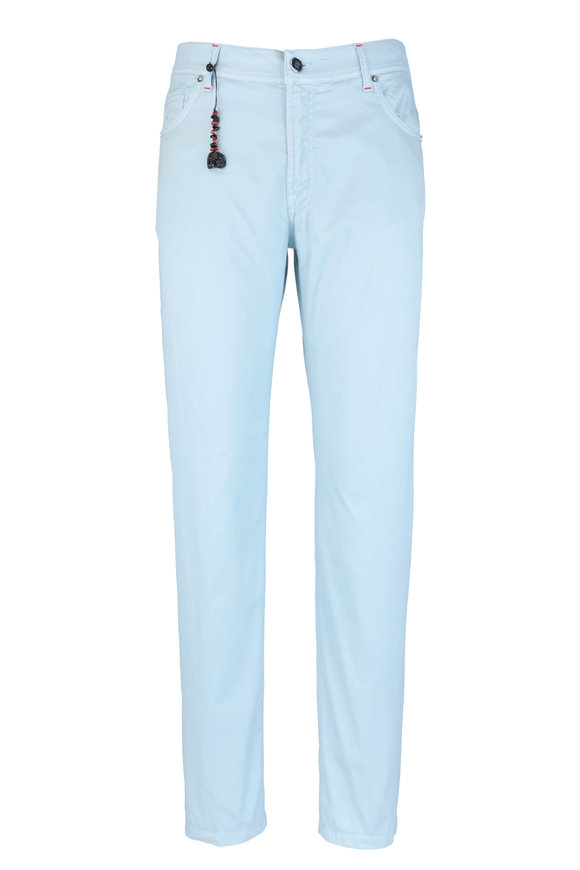 Marco Pescarolo Light Blue Cotton & Silk Five Pocket Pant