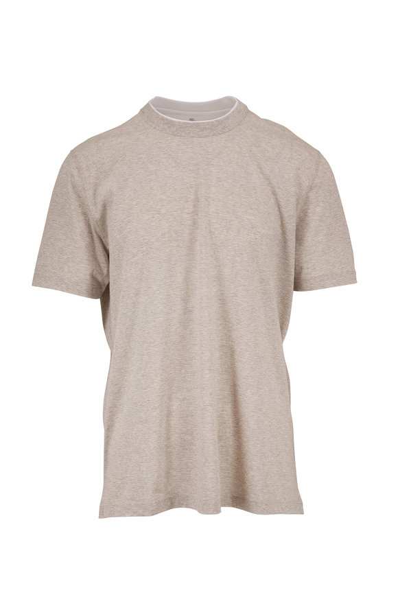 Brunello Cucinelli Light Grey Striped T-Shirt