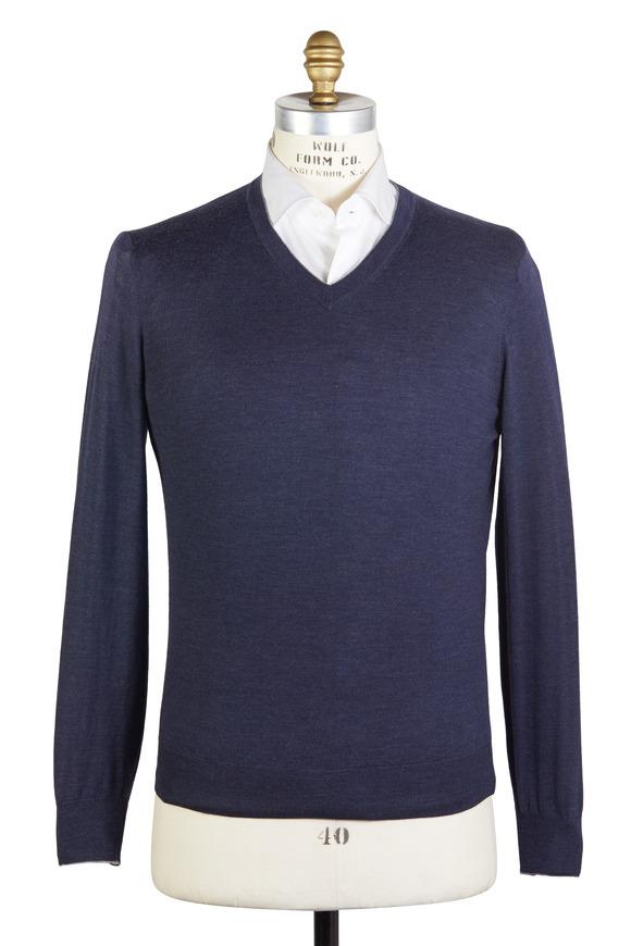 Navy Blue Wool Blend Sweater