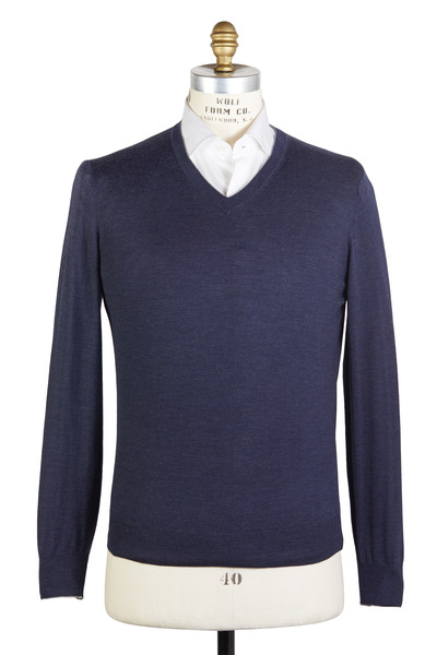 Brunello Cucinelli - Navy Blue Wool Blend Sweater
