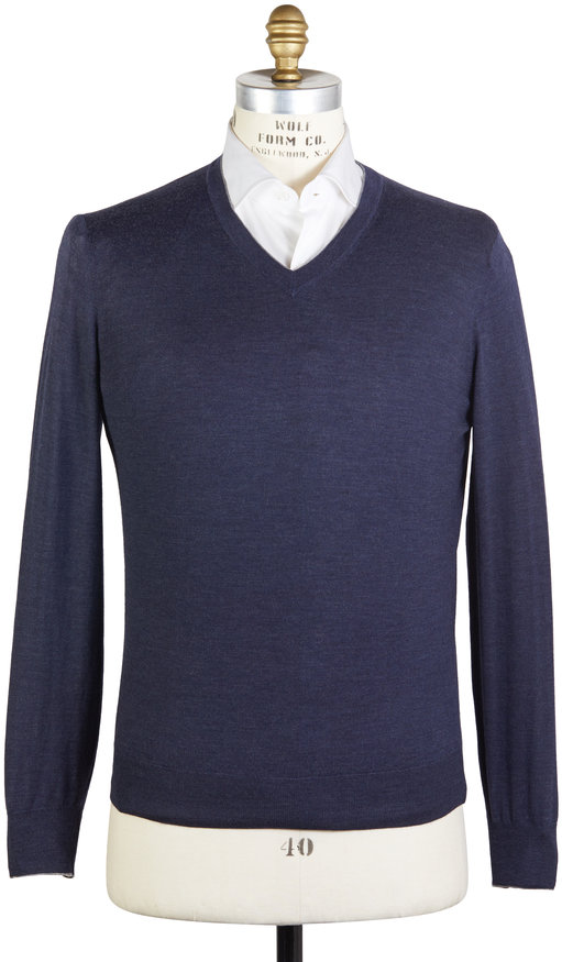 Brunello Cucinelli Navy Blue Wool Blend Sweater