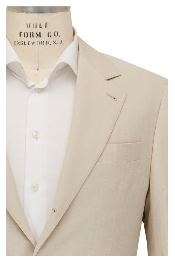 Brunello Cucinelli Light Beige Linen, Silk & Cotton Suit