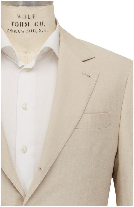 Brunello Cucinelli Light Beige Linen, Silk & Cotton Suit
