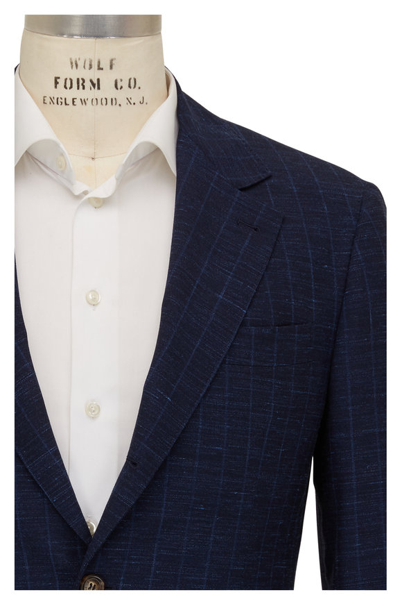 Brunello Cucinelli Blue Wool, Silk & Linen Tonal Striped Suit