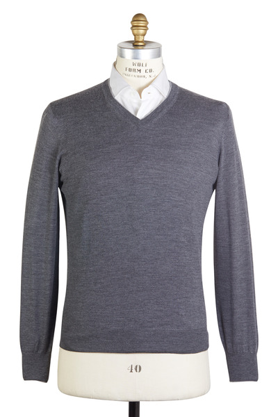 Brunello Cucinelli - Charcoal Gray Wool Blend Sweater