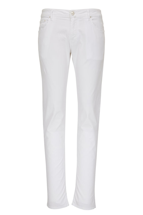 Jacob Cohen  Off White Washed Cotton Five Pocket Pant