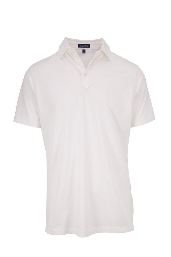 Peter Millar White Piqué Short Sleeve Polo