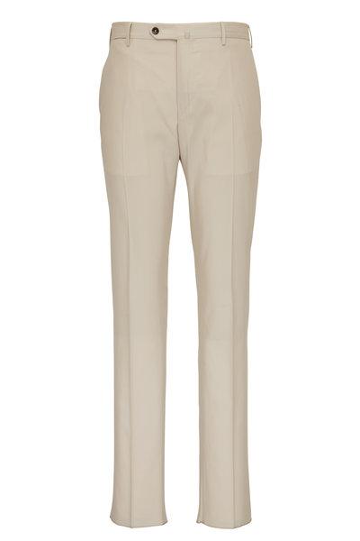 PT Torino - Tan Twill Flat Front Pant